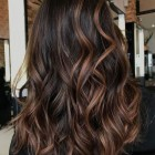 Caramel highlights in donkerbruin haar